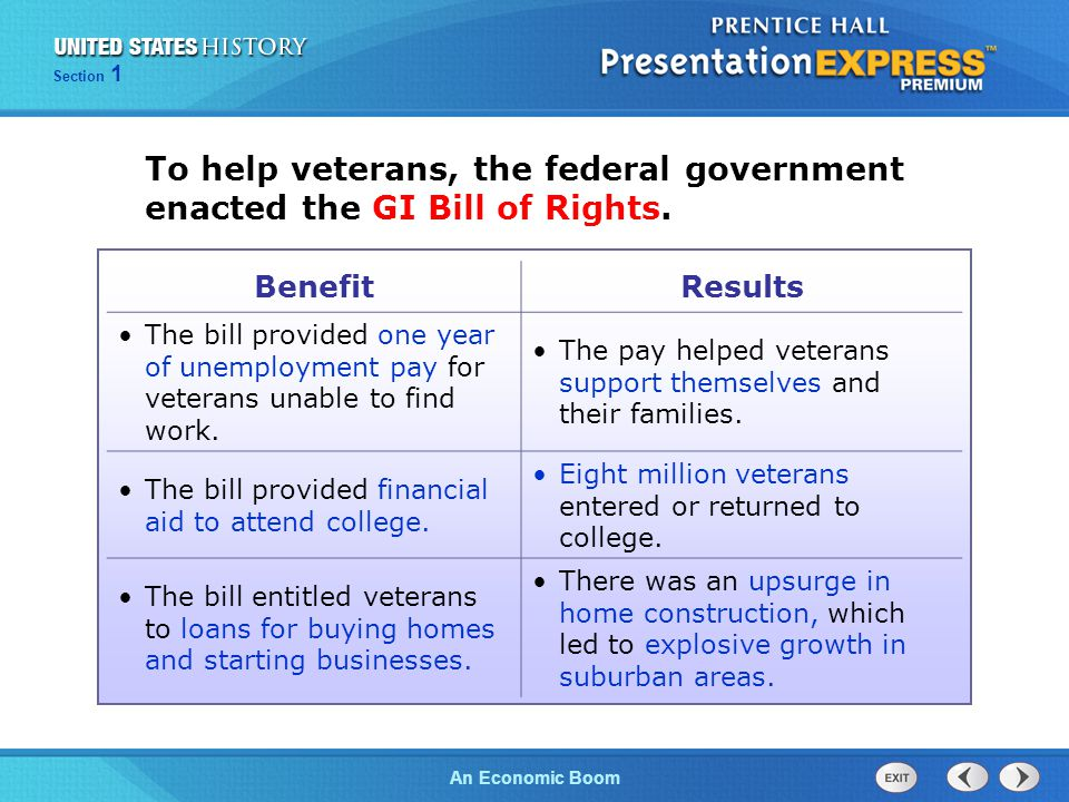 The Cold War BeginsAn Economic Boom Section 1 To help veterans, the federal government enacted the GI Bill of Rights. BenefitResults The bill provided