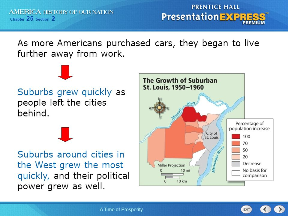 Chapter 25 Section 2 A Time of Prosperity As more Americans purchased cars, they began to live further away from work. Suburbs grew quickly as people