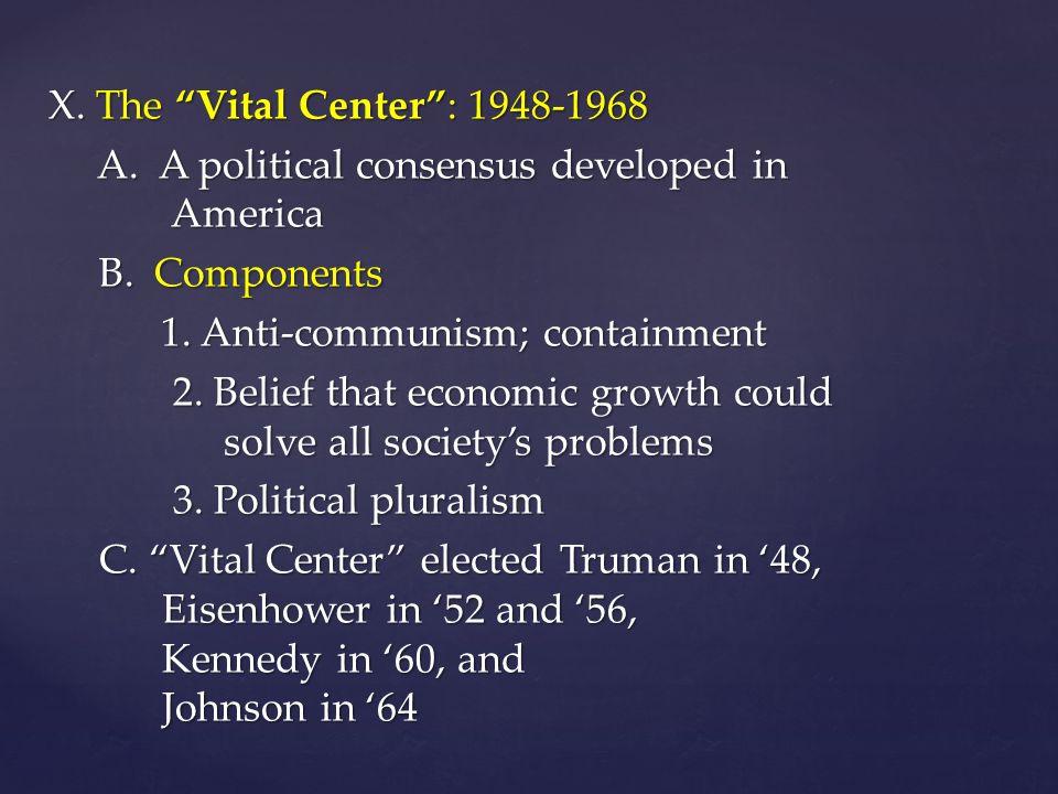 X. The Vital Center : 1948-1968 A. A political consensus developed in America A.