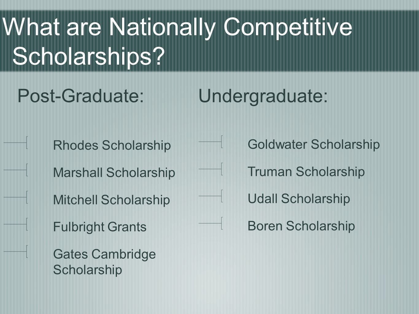 What are Nationally Competitive Scholarships.