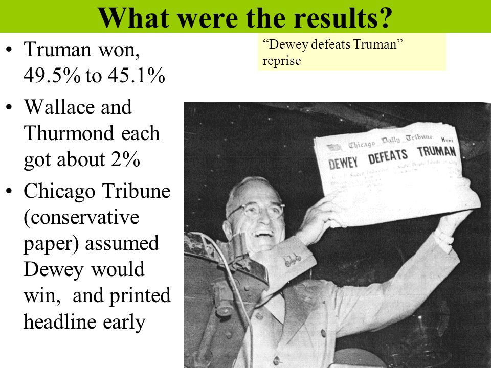 What were the results? Truman won, 49.5% to 45.1% Wallace and Thurmond each got about 2% Chicago Tribune (conservative paper) assumed Dewey would win,