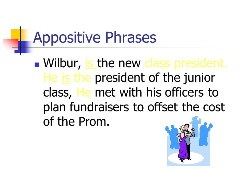 Appositive Phrases Wilbur is the new class president.