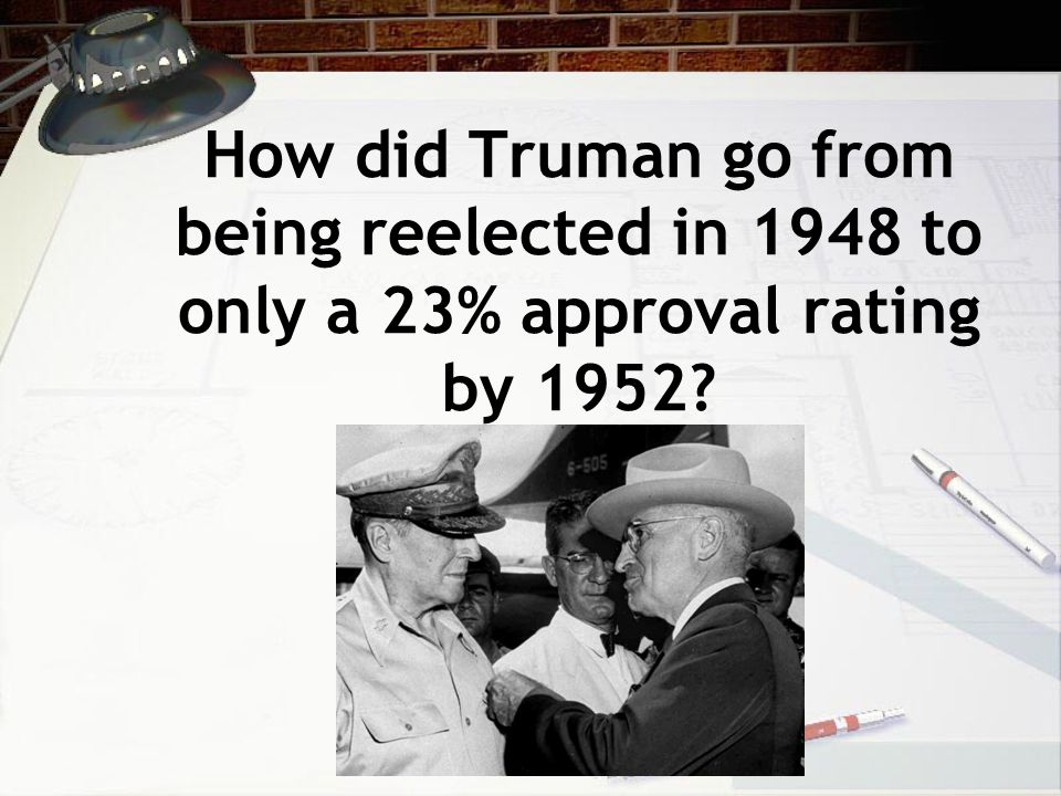How did Truman go from being reelected in 1948 to only a 23% approval rating by 1952
