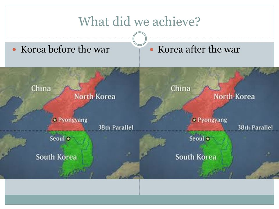 What did we achieve Korea before the war Korea after the war