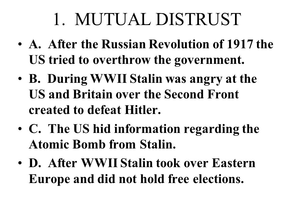WHAT CAUSED THE COLD WAR? 4 CAUSES