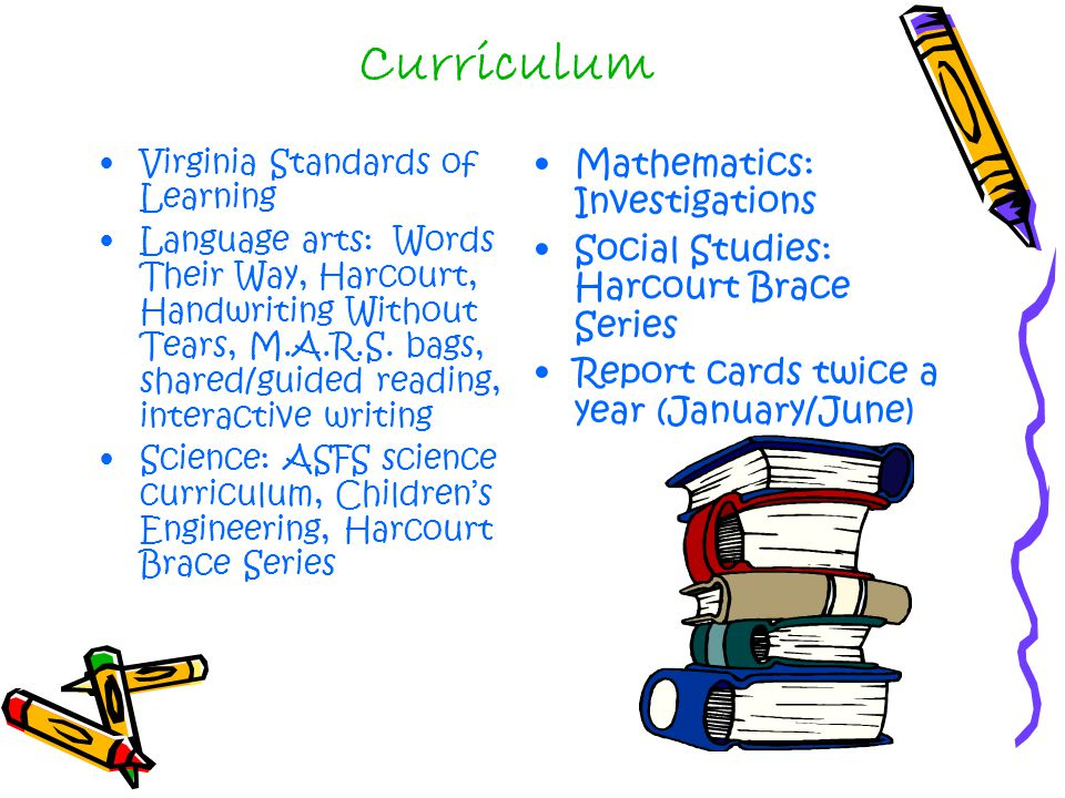 Curriculum Virginia Standards of Learning Language arts: Words Their Way, Harcourt, Handwriting Without Tears, M.A.R.S.