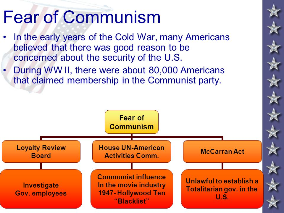 The Cold War at Home Main Idea During the late 1940's and early 1950's, fear of communism led to reckless charges against innocent citizens. Why it Ma