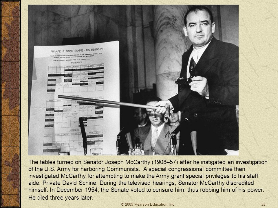 The tables turned on Senator Joseph McCarthy (1908–57) after he instigated an investigation of the U.S.