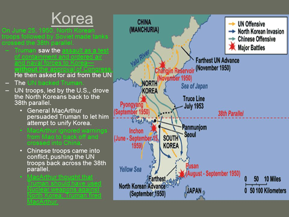 Korea On June 25, 1950, North Korean troops followed by Soviet made tanks crossed the 38th parallel.