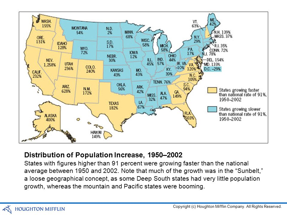 States with figures higher than 91 percent were growing faster than the national average between 1950 and 2002. Note that much of the growth was in th
