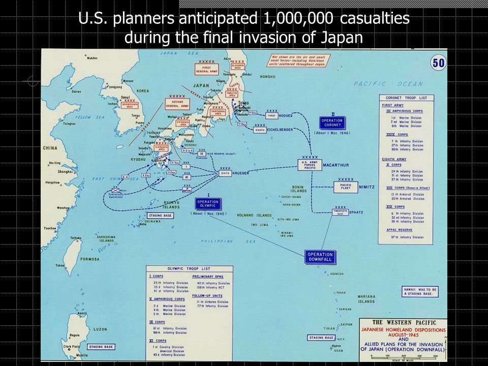 U.S. planners anticipated 1,000,000 casualties during the final invasion of Japan