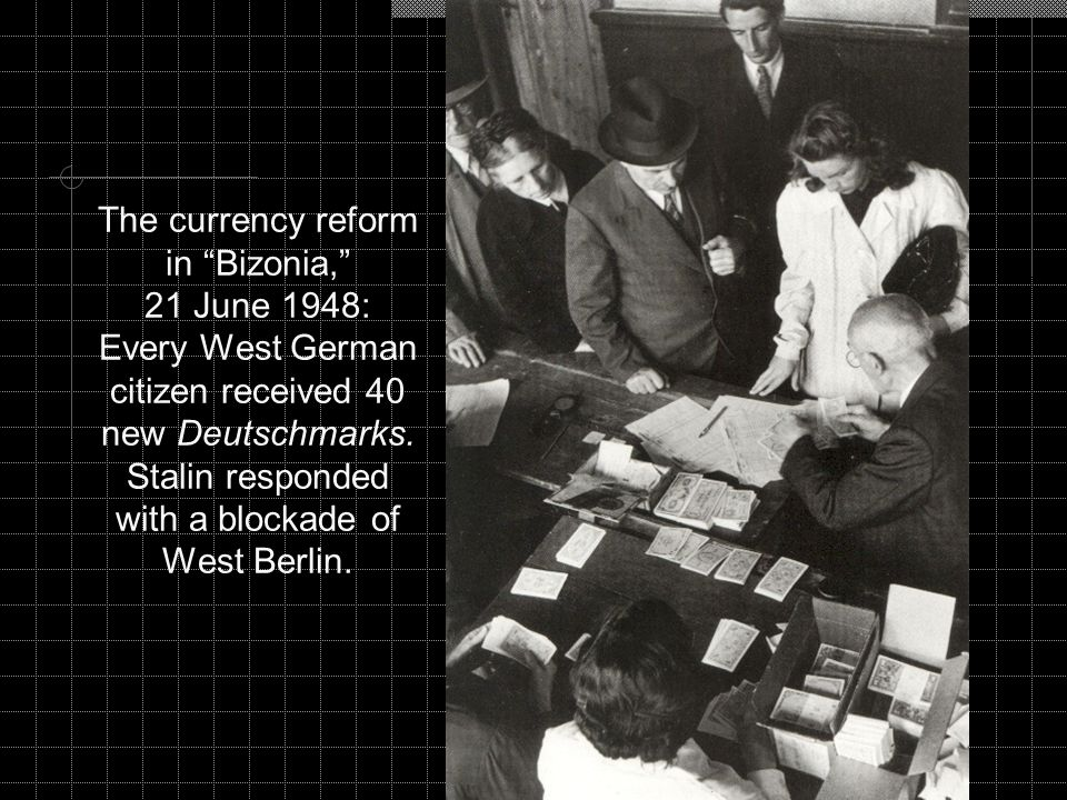 The currency reform in Bizonia, 21 June 1948: Every West German citizen received 40 new Deutschmarks.
