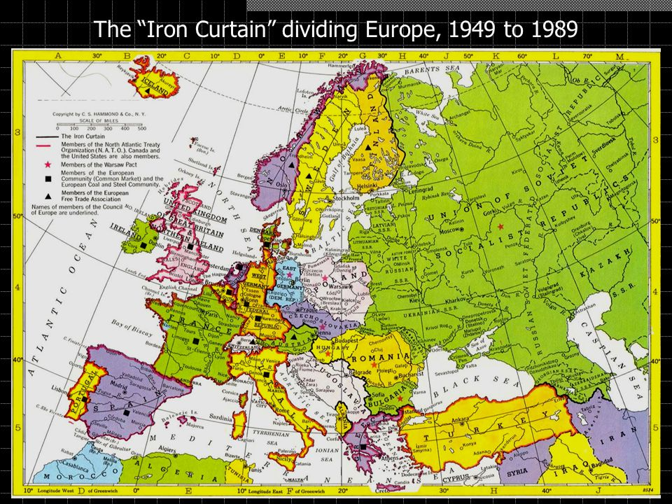 The Iron Curtain dividing Europe, 1949 to 1989