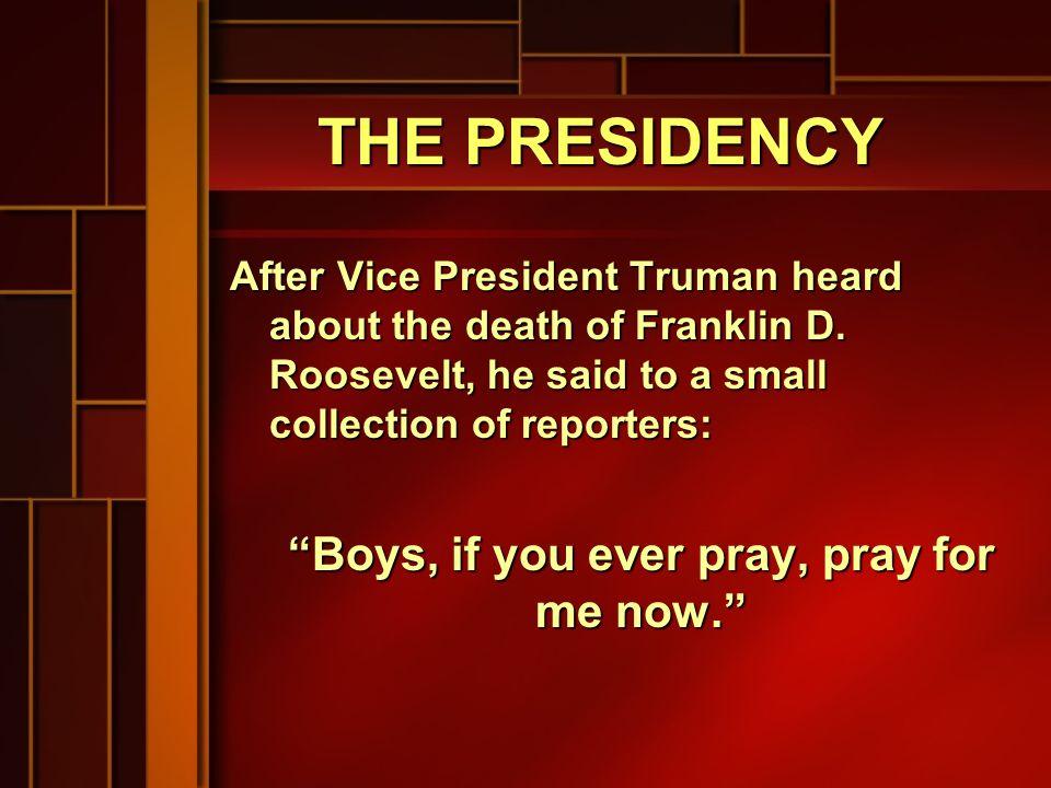 PRESIDENTIAL TRIVIA Only divorced president: Reagan Only divorced president: Reagan Only bachelor president: Buchanan Only bachelor president: Buchanan Shortest Term: Harrison (1 month) Shortest Term: Harrison (1 month) Largest President: Taft (350 pounds) Largest President: Taft (350 pounds) Smallest President: Madison (95 Smallest President: Madison (95 pounds) pounds) Youngest President: Roosevelt (42) Youngest President: Roosevelt (42) Oldest President: Reagan (77) Oldest President: Reagan (77)