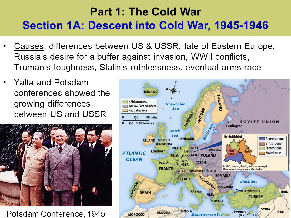 Truman Doctrine pledged US support against communism and gave aid to Greece, Turkey The Marshall Plan provided $13 billion to rebuild Western Europe The Berlin crisis led to a massive airlift and eventually NATO NSC-68 urged a massive US military spending increase in response to Soviet atomic bomb and Cold War Part 1: The Cold War Sec.