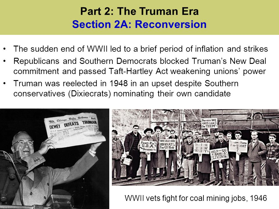 Truman desegregated the military and federal government Employment Act of 1946 asserted government's role in the economy The Cold War & Congressional conservatives blocked the Fair Deal New Jersey Phalanx building photograph Part 2: The Truman Era Section 2B: The Fair Deal