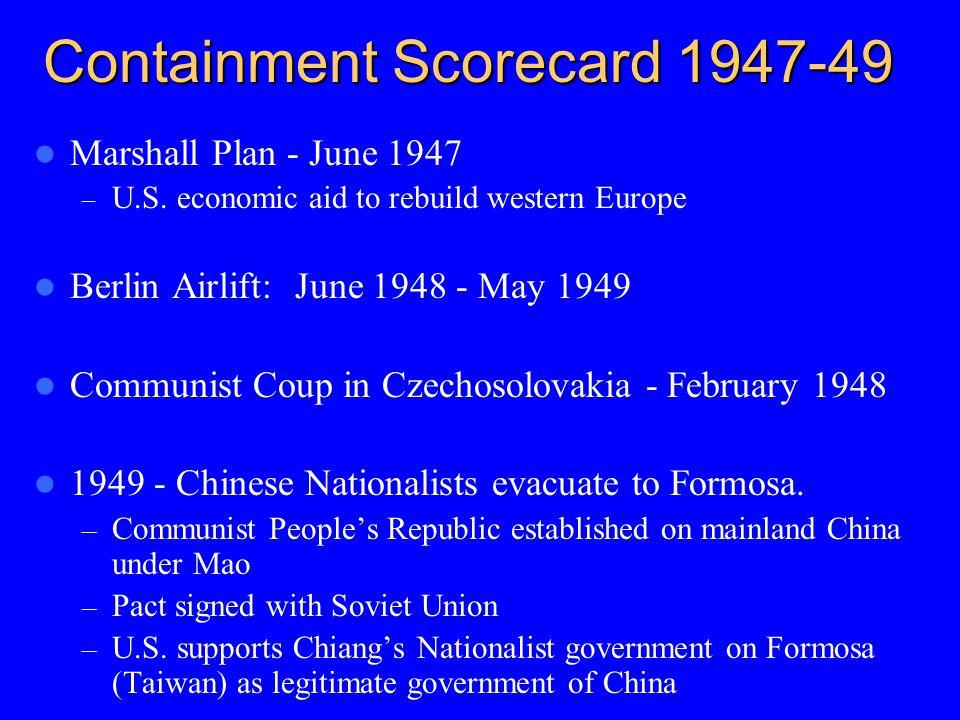 Containment Scorecard 1947-49 Marshall Plan - June 1947 – U.S.
