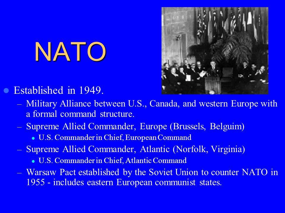 NATO Established in 1949.