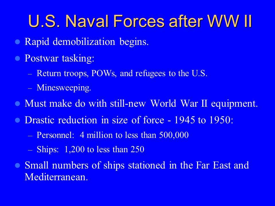 U.S. Naval Forces after WW II Rapid demobilization begins.