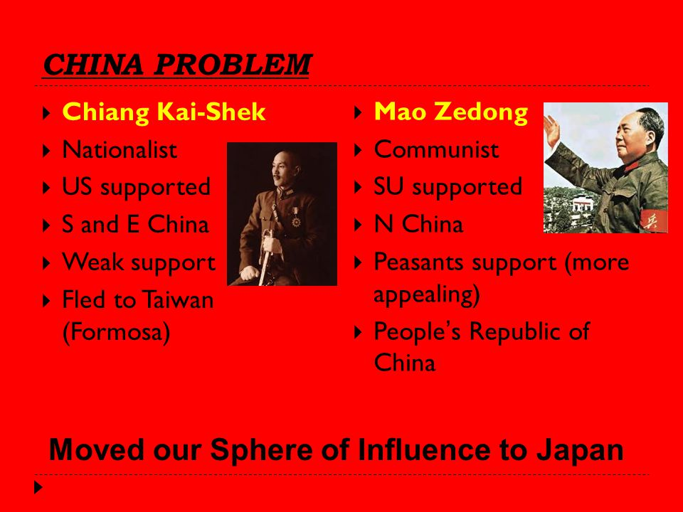 CHINA PROBLEM  Chiang Kai-Shek  Nationalist  US supported  S and E China  Weak support  Fled to Taiwan (Formosa)  Mao Zedong  Communist  SU supported  N China  Peasants support (more appealing)  People's Republic of China Moved our Sphere of Influence to Japan