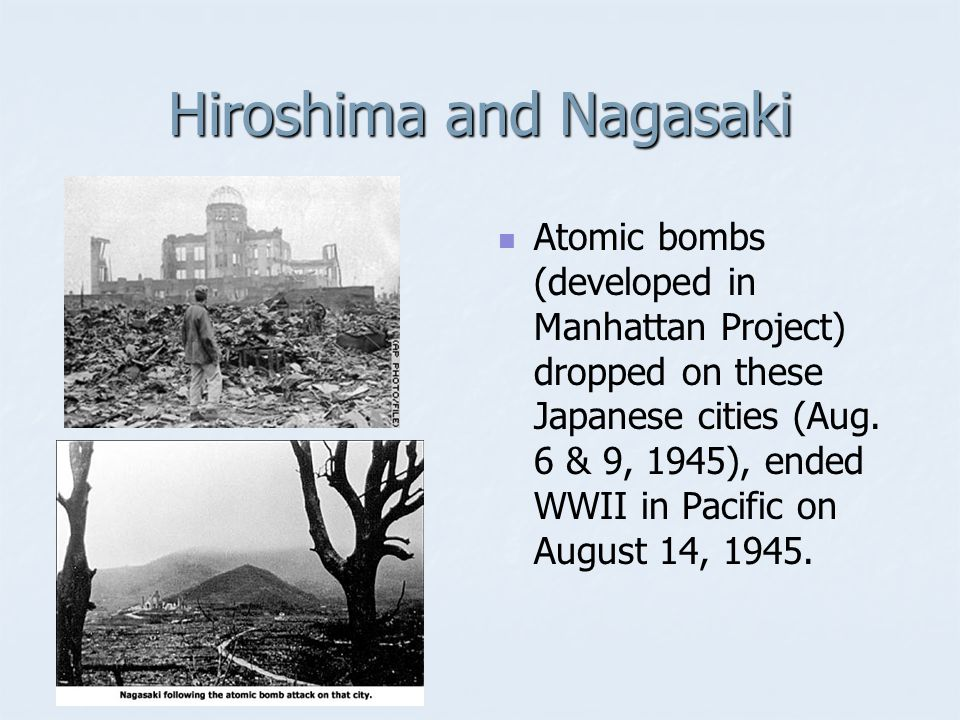Atomic Bomb Harry S Truman's decision to use the bomb on Hiroshima & Nagasaki August 1945 Enola Gay Killed thousands of Japanese Ended World War II in the Pacific Front