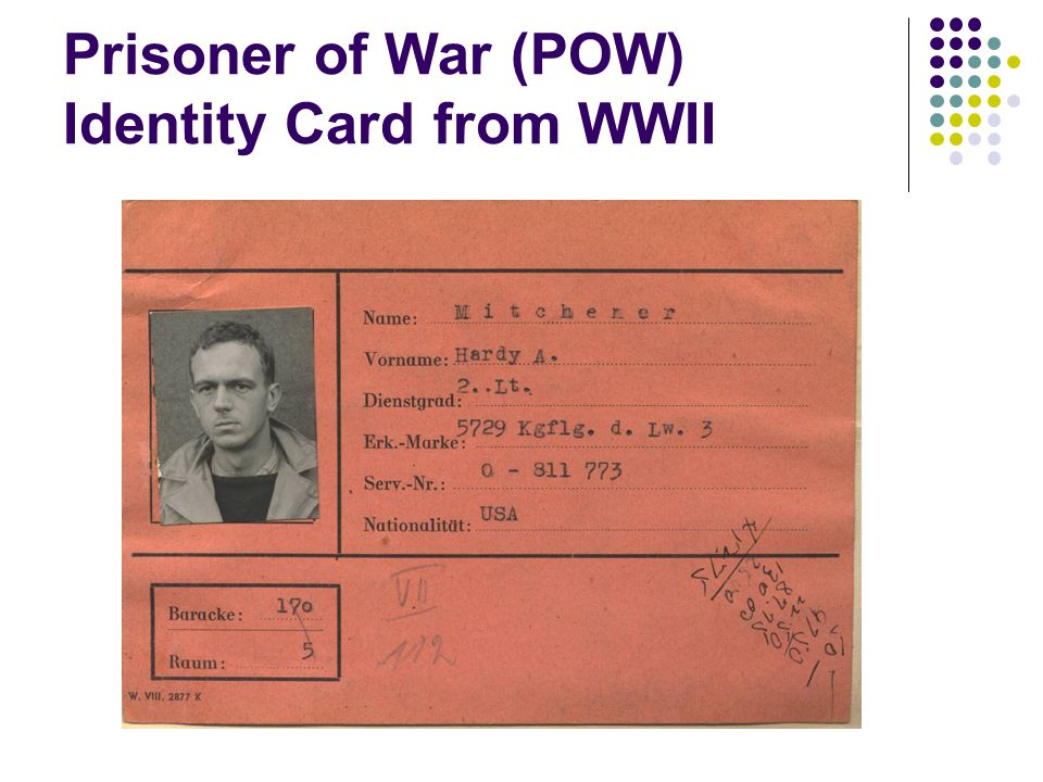 Prisoner of War (POW) Identity Card from WWII