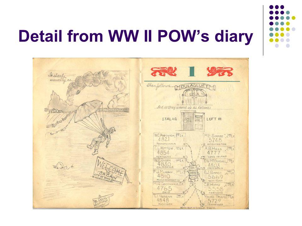 Detail from WW II POW's diary
