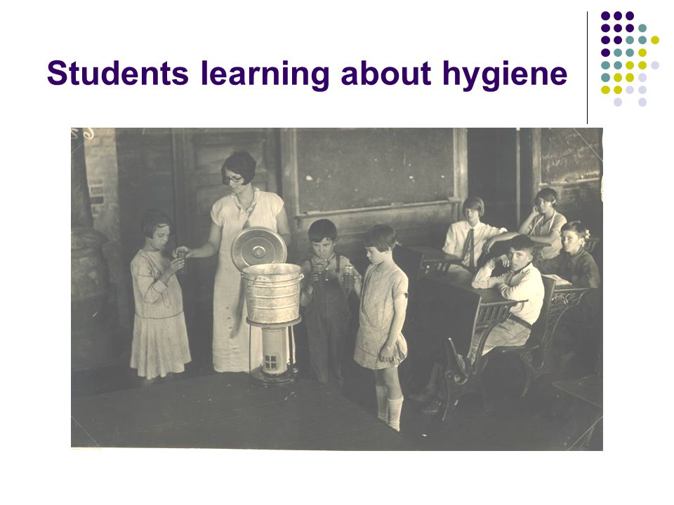 Students learning about hygiene