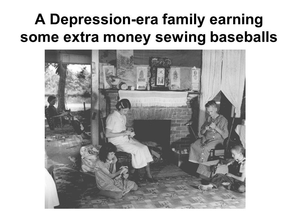 A Depression-era family earning some extra money sewing baseballs