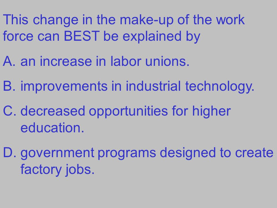 This change in the make-up of the work force can BEST be explained by A.an increase in labor unions. B.improvements in industrial technology. C.decrea