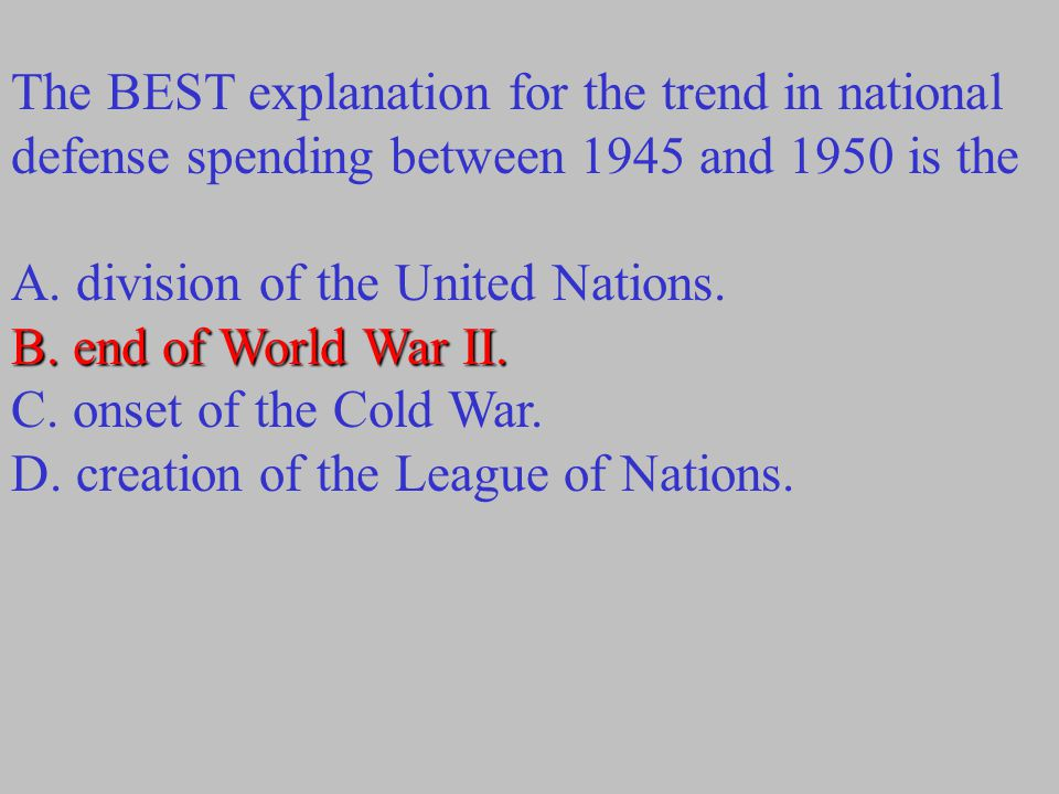 The BEST explanation for the trend in national defense spending between 1945 and 1950 is the A. division of the United Nations. B. end of World War II