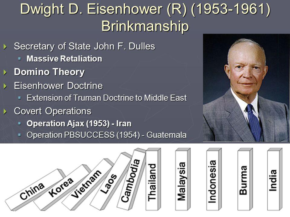  Temporary Thaw with Soviet Union  Atoms for Peace (1953)  Hungarian Revolt (1956)  Sputnik (1957)  U-2 Incident (1960) Eisenhower & Brinkmanship (1953-1961) Soviet Union