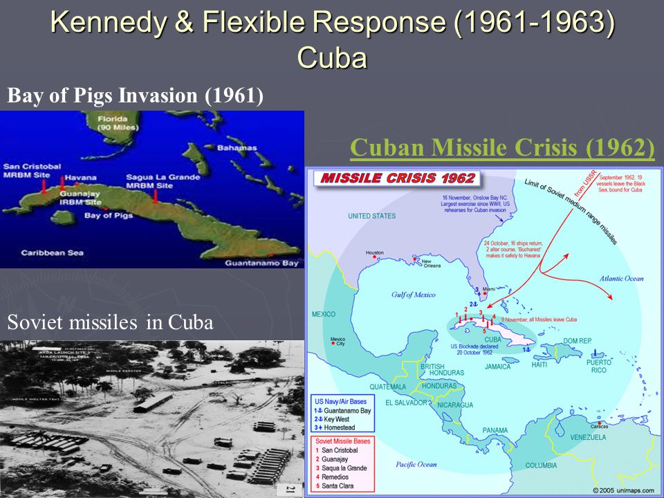 Kennedy & Flexible Response (1961-1963) Cuba Bay of Pigs Invasion (1961) Soviet missiles in Cuba Cuban Missile Crisis (1962)