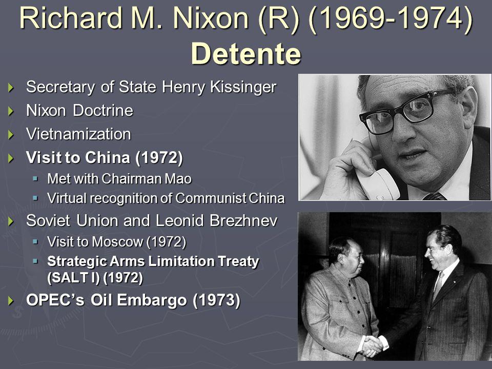 Nixon & Detente (1969-1974) Vietnamization   Purpose   Expand, equip, and train South Vietnamese   Reduce American troop involvement   Peace with honor   Cambodia bombings   My Lai Massacre (1968)   U.S.