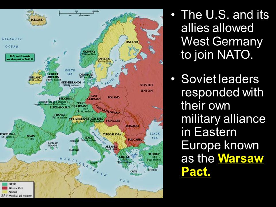 Section 2-14 In April 1949, the North Atlantic Treaty Organization (NATO), a mutual defense alliance, was created with twelve countries joining. The m