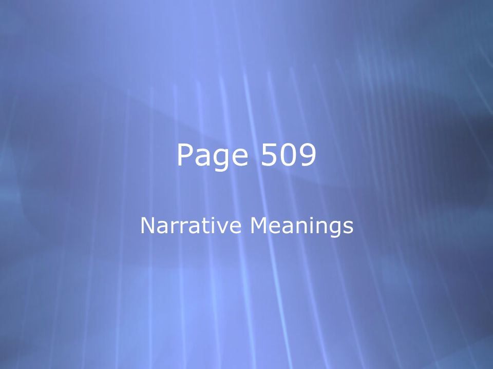 Page 509 Narrative Meanings