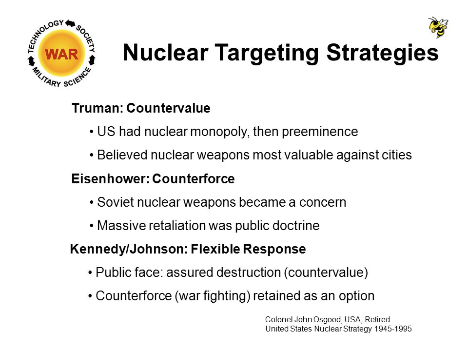 Nuclear Targeting Strategies Truman: Countervalue US had nuclear monopoly, then preeminence Believed nuclear weapons most valuable against cities Colonel John Osgood, USA, Retired United States Nuclear Strategy 1945-1995 Eisenhower: Counterforce Soviet nuclear weapons became a concern Massive retaliation was public doctrine Kennedy/Johnson: Flexible Response Public face: assured destruction (countervalue) Counterforce (war fighting) retained as an option