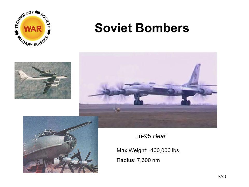 Soviet Bombers Tu-95 Bear Max Weight: 400,000 lbs Radius: 7,600 nm FAS