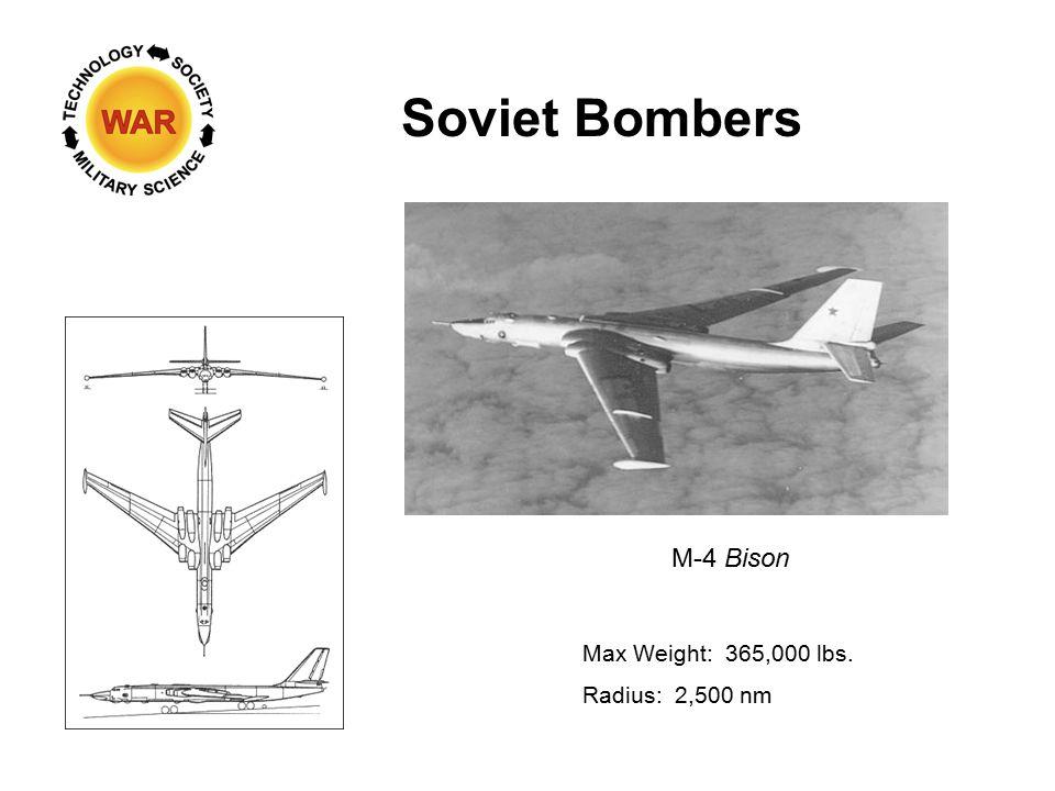 Soviet Bombers M-4 Bison Max Weight: 365,000 lbs. Radius: 2,500 nm