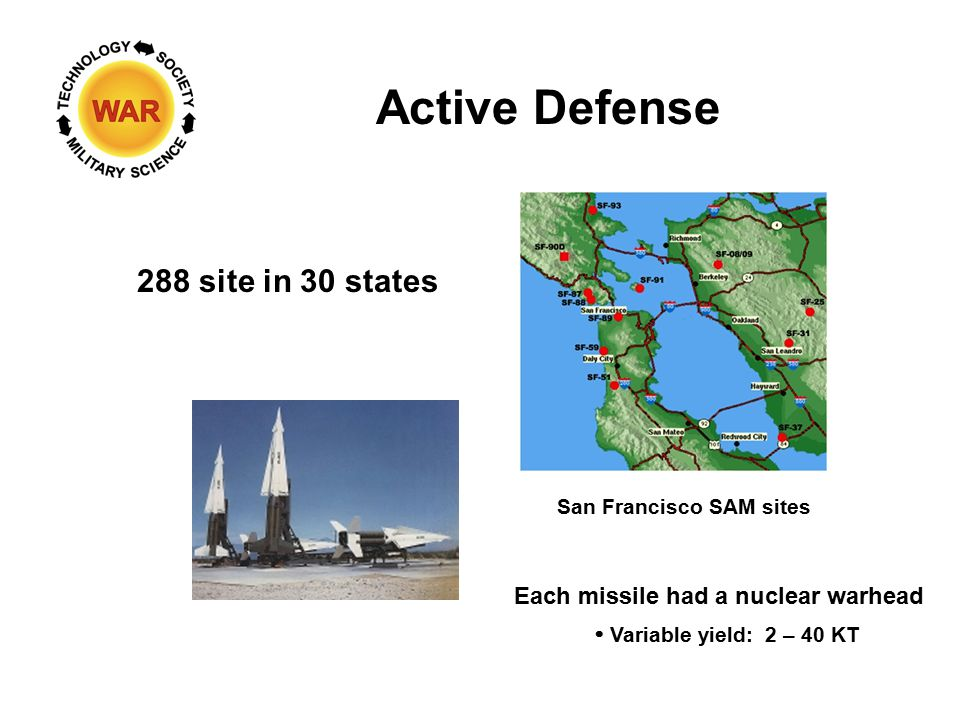 Active Defense 288 site in 30 states San Francisco SAM sites Each missile had a nuclear warhead  Variable yield: 2 – 40 KT