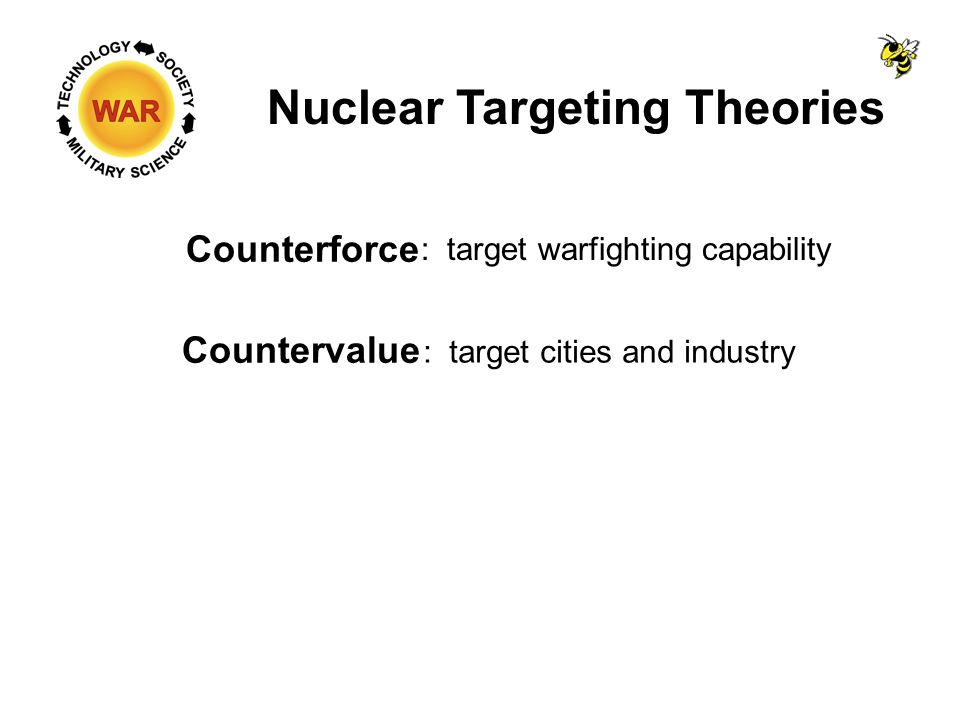 Nuclear Targeting Theories Counterforce Countervalue : target warfighting capability : target cities and industry