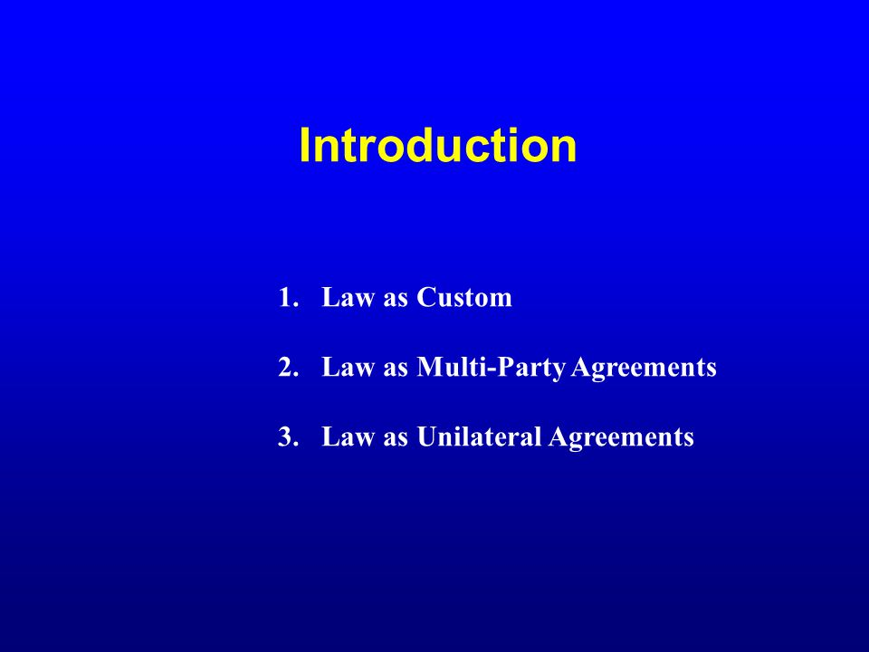 Introduction 1.Law as Custom 2.Law as Multi-Party Agreements 3.Law as Unilateral Agreements