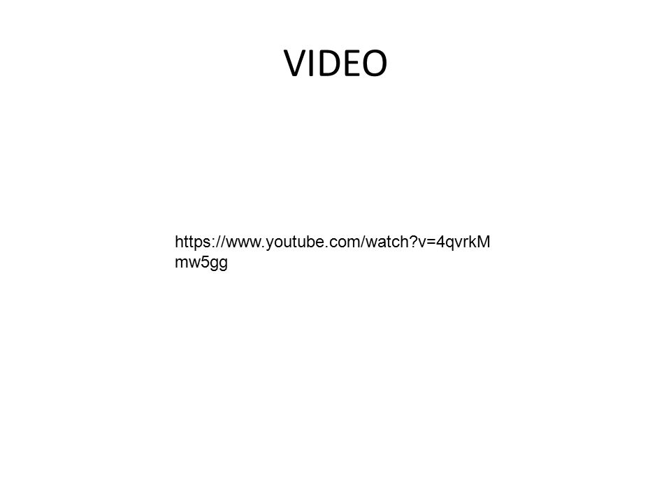 VIDEO https://www.youtube.com/watch?v=4qvrkM mw5gg