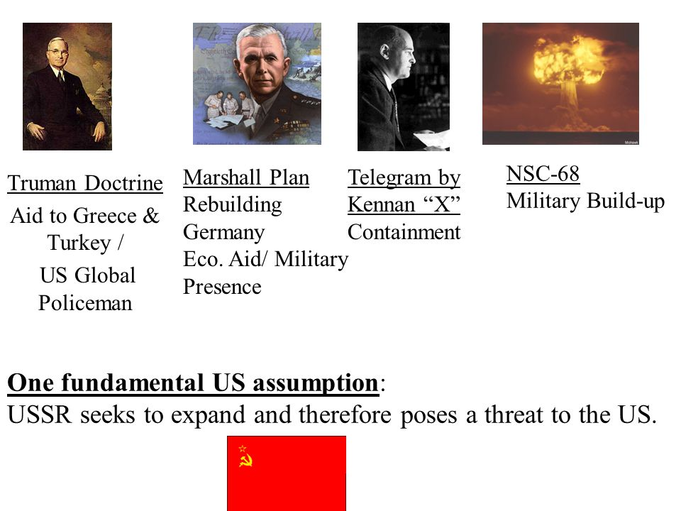 One fundamental US assumption: USSR seeks to expand and therefore poses a threat to the US.