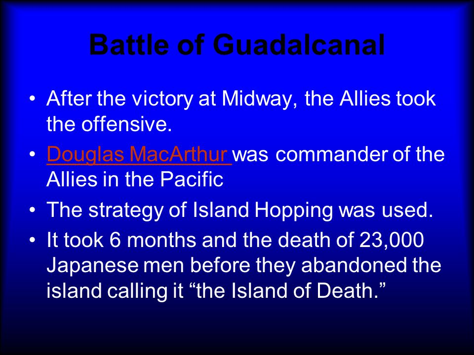 BATTLE OF MIDWAY Turning Point of the Pacific US code breakers know exactly where the Japanese fleet will be 4 Japanese carriers sunk for only 1 American carrier