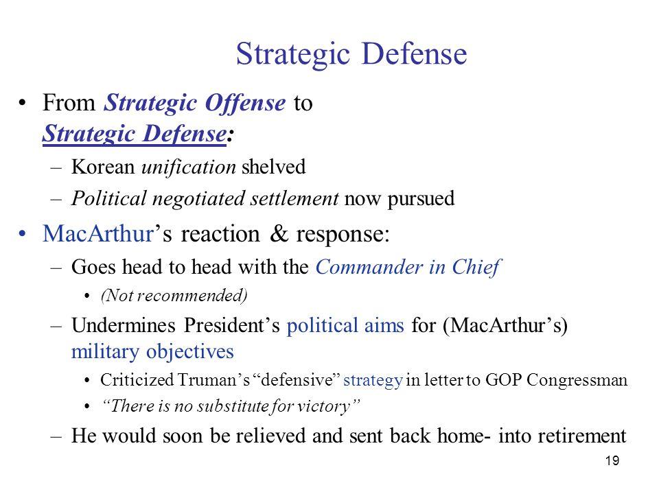 19 Strategic Defense From Strategic Offense to Strategic Defense: –Korean unification shelved –Political negotiated settlement now pursued MacArthur's