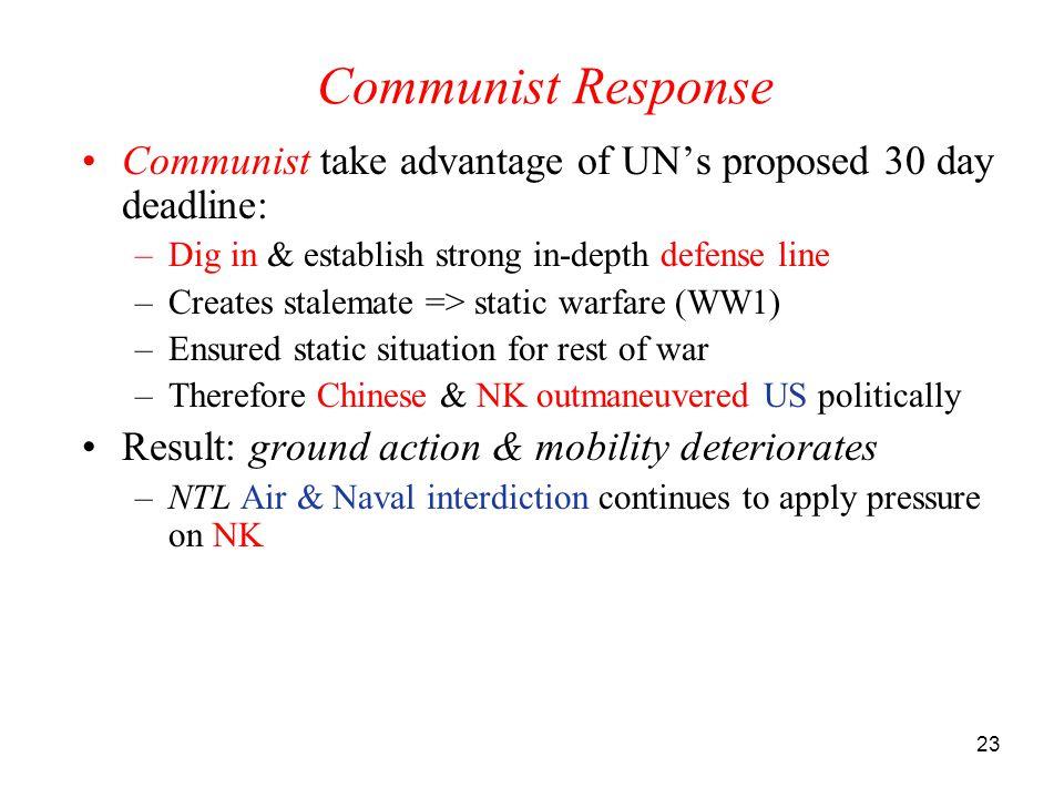 23 Communist Response Communist take advantage of UN's proposed 30 day deadline: –Dig in & establish strong in-depth defense line –Creates stalemate =