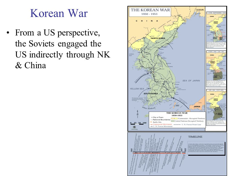 34 Korean War From a US perspective, the Soviets engaged the US indirectly through NK & China