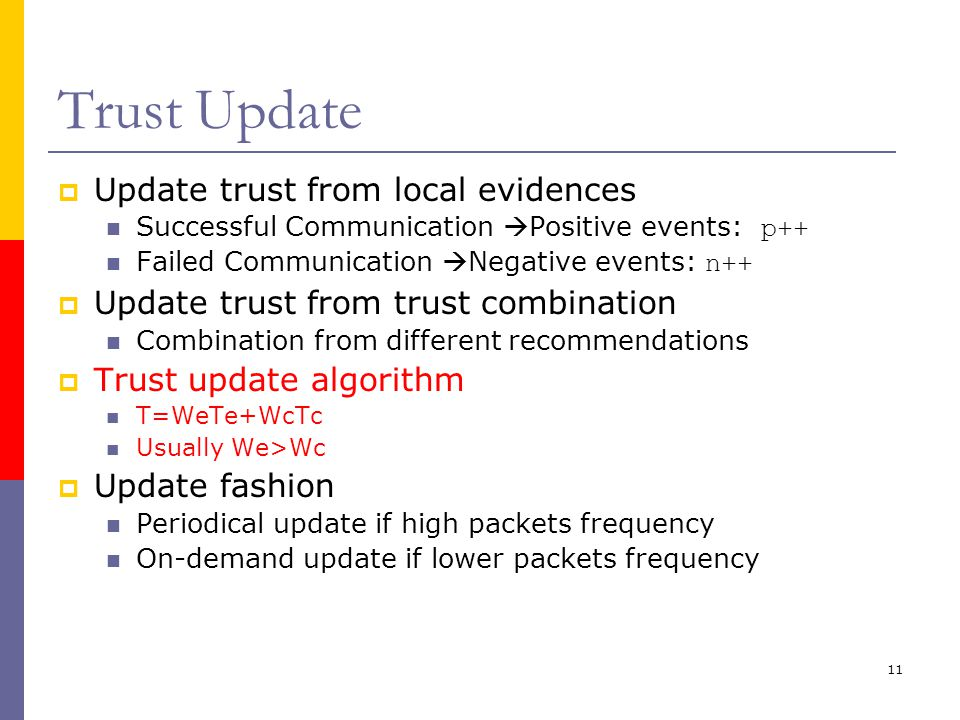 11 Trust Update  Update trust from local evidences Successful Communication  Positive events: p++ Failed Communication  Negative events: n++  Update trust from trust combination Combination from different recommendations  Trust update algorithm T=WeTe+WcTc Usually We>Wc  Update fashion Periodical update if high packets frequency On-demand update if lower packets frequency
