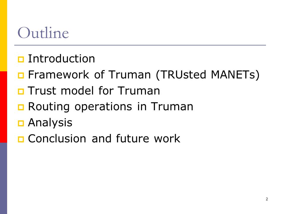 13 Trusted Routing Discovery: Scenario I-Beginning of Truman  Pre-operations: Each node in this network has generated its own {secret, public} key pair and obtained the public keys of other nodes for further usage of digital signature.